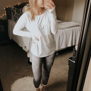 Fabletics White Mesh Long Sleeve Athletic Top
